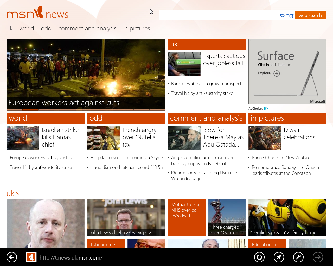 MSN News on Windows 8