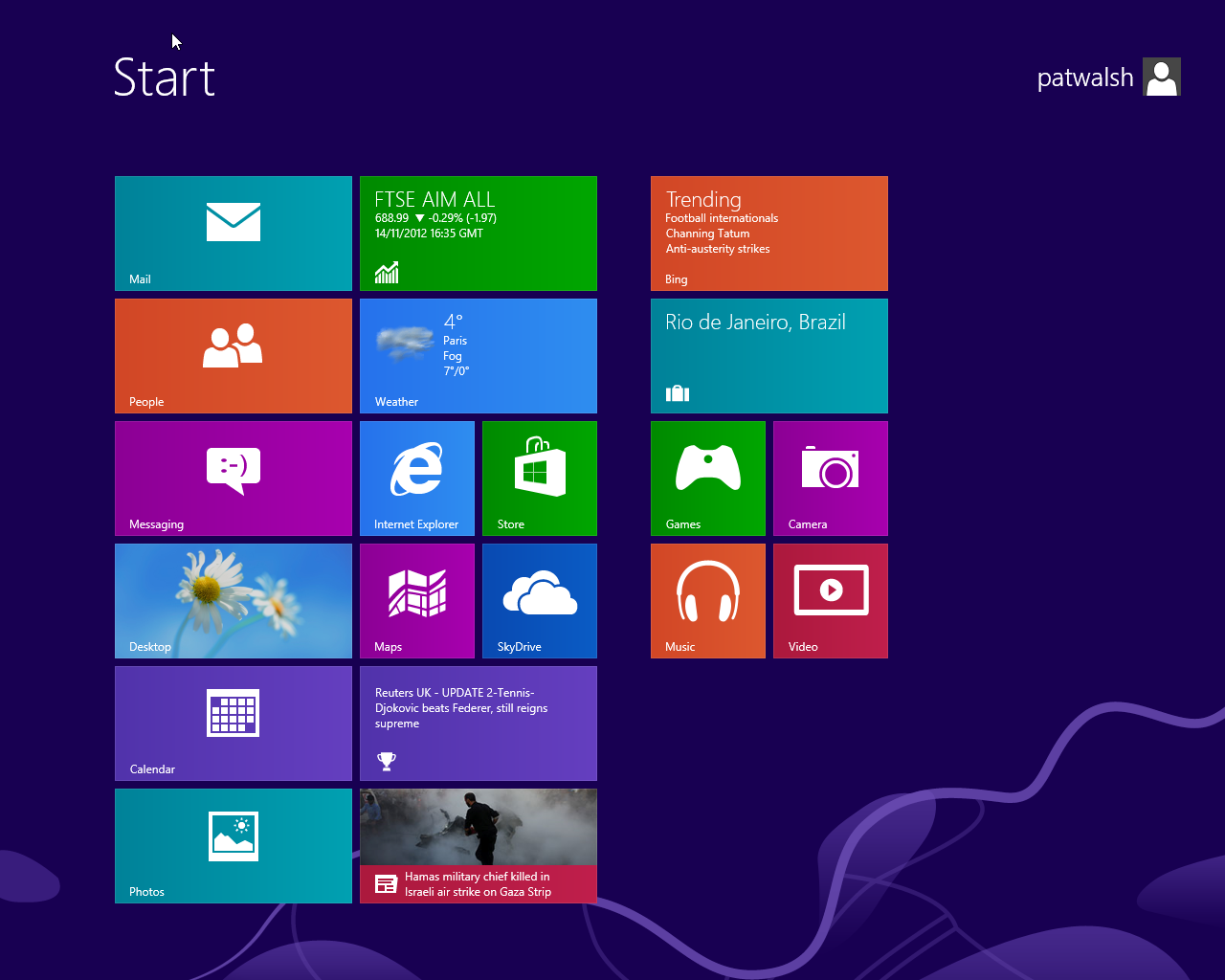 Start screen on Windows 8 Pro
