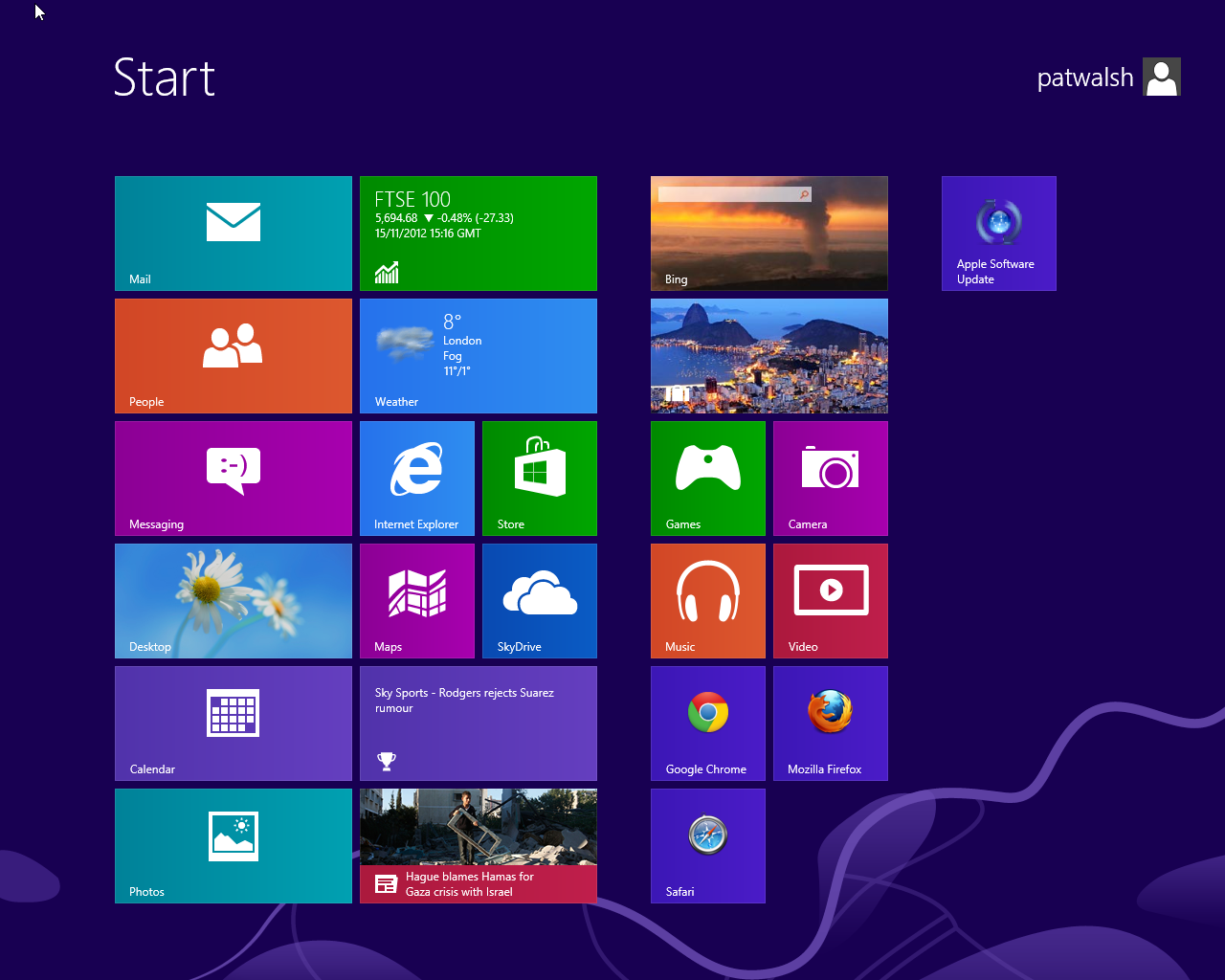 Windows 8 Start Screen showing other Browsers