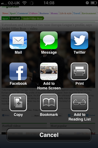 iOS 6 Share screen