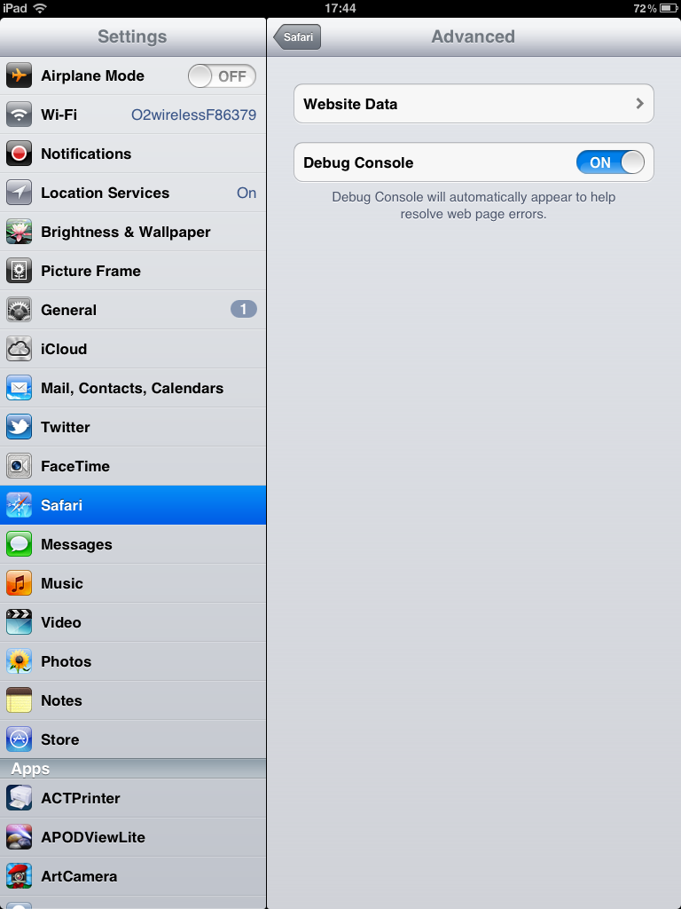 iPad Settings