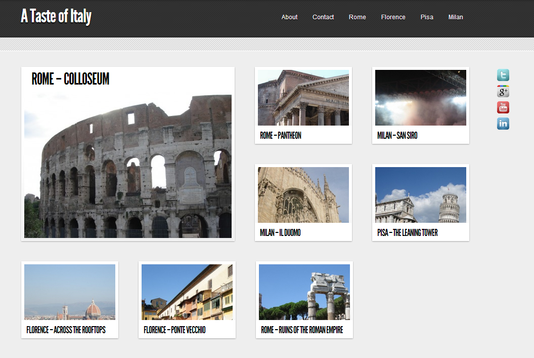 A Taste of Italy - MYgRID2 Theme Demo - WordPress Website