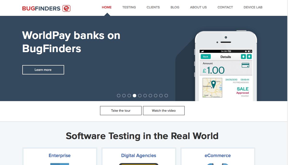 Bugfinders-homepage