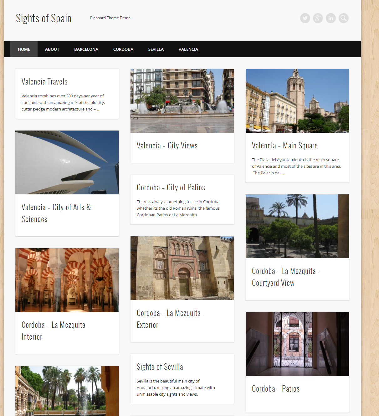 Sights of Spain - Pinboard Theme Demo - WordPress Website