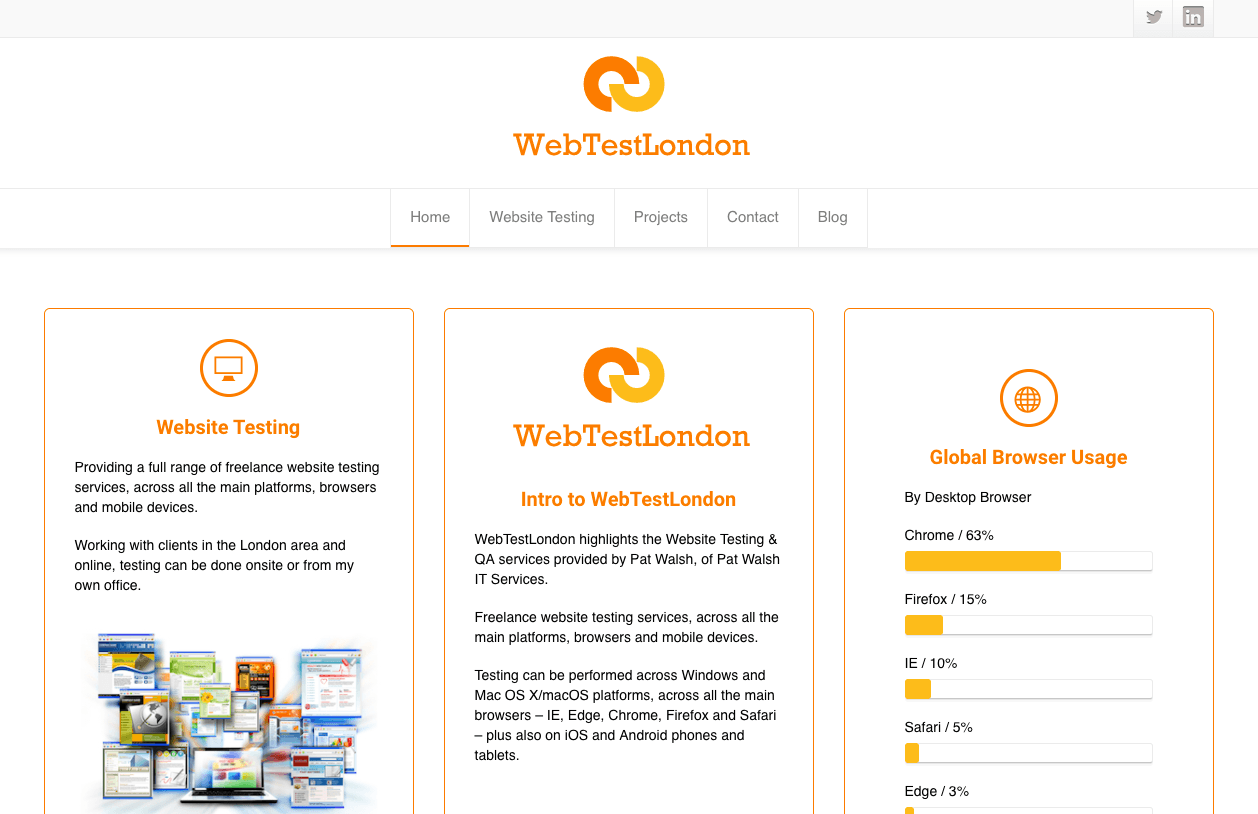 WebTestLondon Website