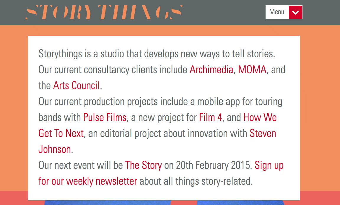 Storythings-homepage
