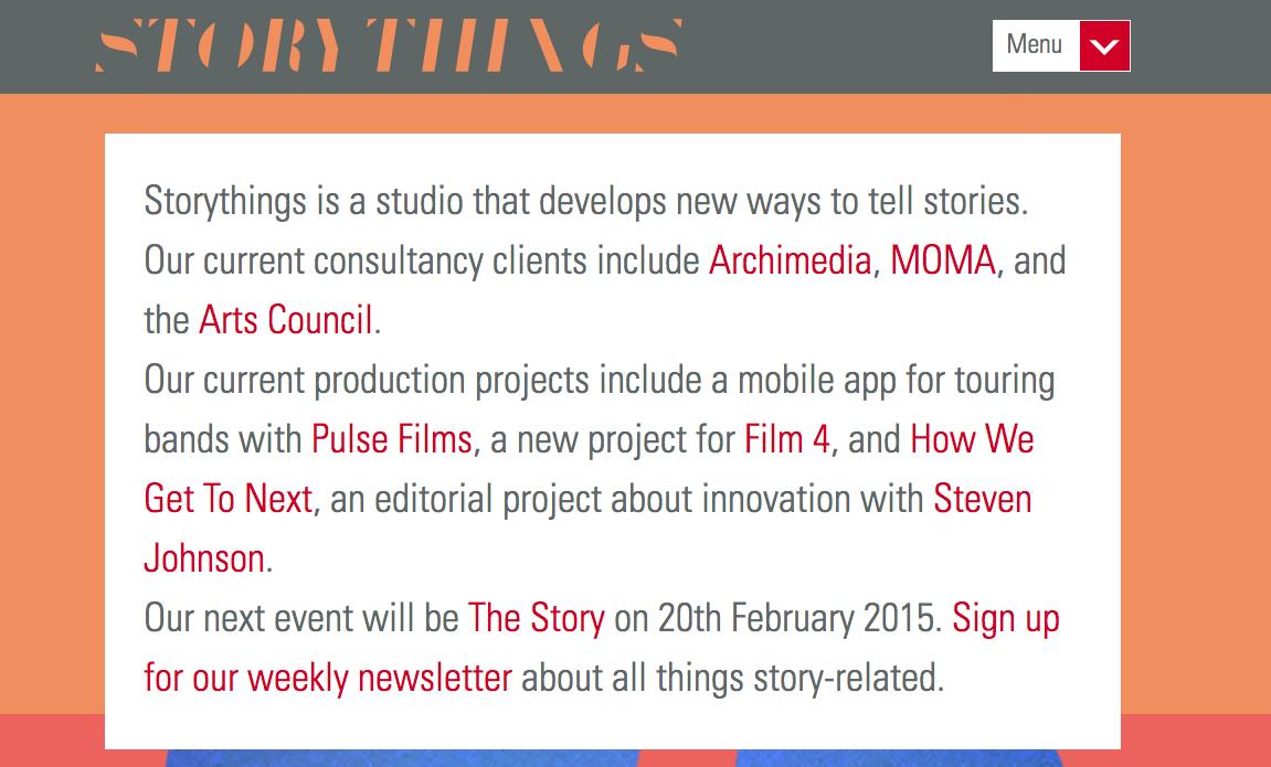 Storythings-homepage
