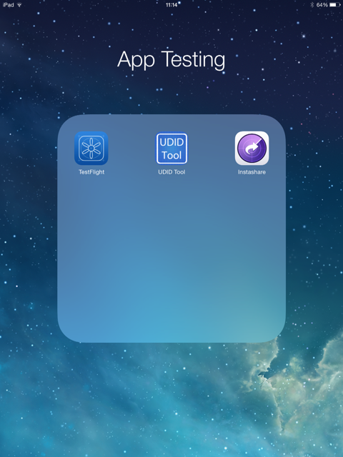 App Testing folder on iPad Air