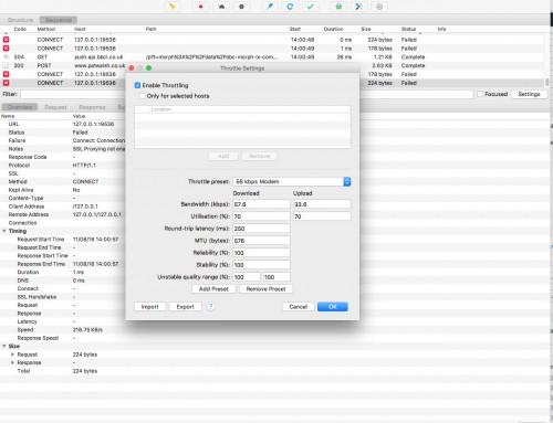 Using Charles Proxy for bandwidth throttling testing