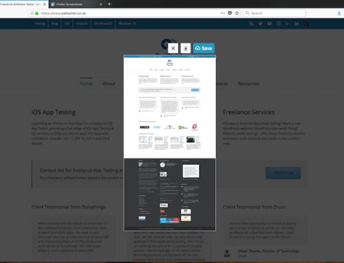 Firefox Quantum browser's built-in screenshots tool