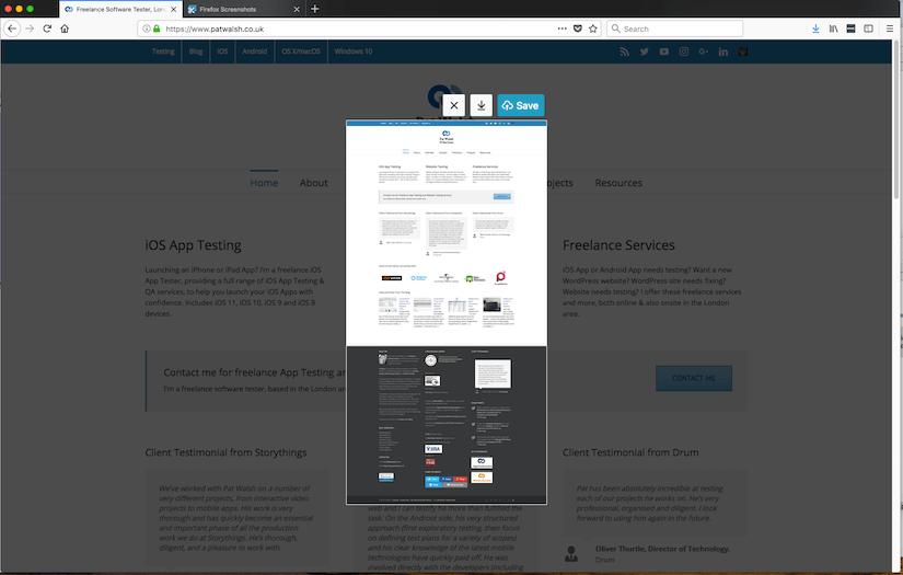 Firefox Quantum browser's built-in screenshots tool - Pat